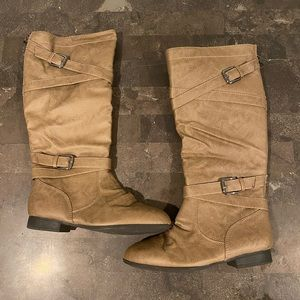 Knee High Boots with Buckles // Tan